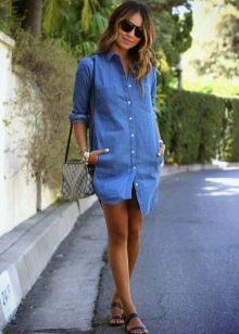 Аксессуары к джинсовому платью-рубашке