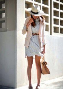 Пиджак к платью-рубашке в клетке
