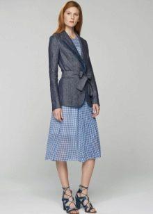 Серый пиджак к платью  в клетке