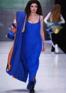 Пальто к синему платью в пол