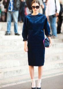 Туфли к синему платью-футляру