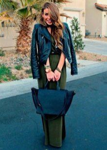 Кожная куртка к зеленому платью
