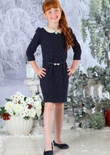 Школьное платье для девочек синего цвета