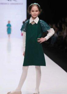 Школьное платье для девочек зеленое