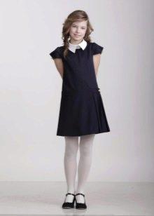 Школьное платье для девочек с коротким рукавом