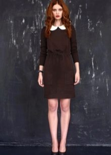 Школьное платье-футляр с воротником для девочек