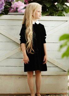Школьное черное платье для девочек до колен