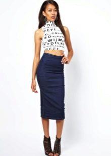Трикотажная синяя юбка с завышенной талией