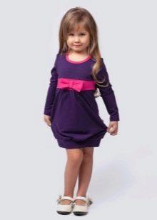 Трикотажное платье для девочки повседневное с рукавами