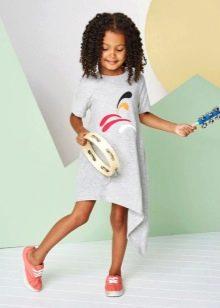 Трикотажное летнее платье для девочки асимметричное