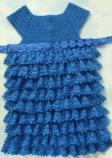 Нарядное синее платье с оборками для девочки 4-5 лет
