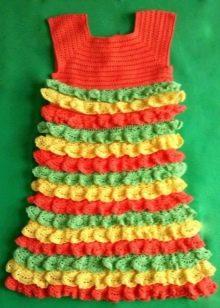 Нарядное платье для девочки 4-5 лет вязаное крючком