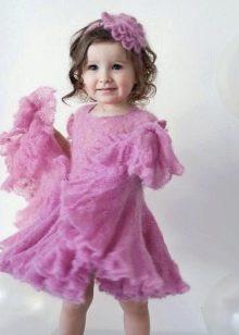 Вязаное платье для девочки спицами пышное