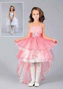 короткое спереди длинное сзади выпускное розовое платье в детский сад