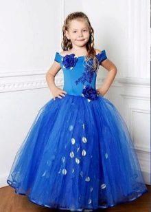 Длинное синее выпускное платье в детский сад