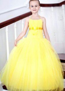 Выпускное платье в детский сад желтое в пол