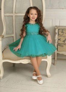 Морского цвета платье выпускное в детский сад