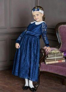 Выпускное платье в детский сад синее кружевное