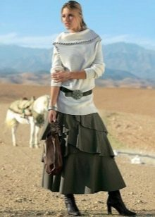 длинная юбка с ассиметричными воланами
