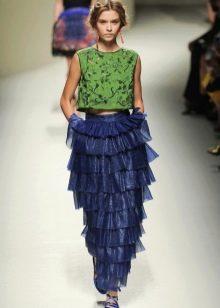 прямая юбка с воланами из темно-синей органзы