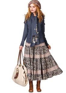 пышная юбка с воланами из двух видов ткани