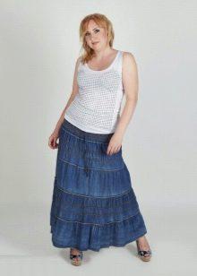 длинная джинсовая юбка с воланами