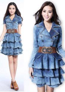 голубая джинсовая юбка с воланами