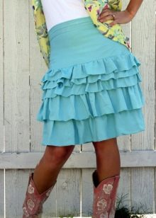 бирюзовая  юбка с воланами