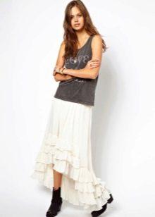 Асимметричная юбка с оборками ниже колена