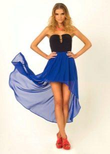 Ярко-синяя асимметричная юбка со шлейофм
