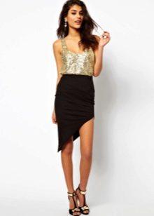 Черная асимметричная юбка