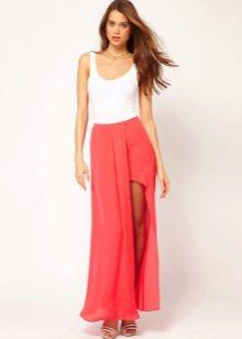 Асимметричная юбка с белым топом