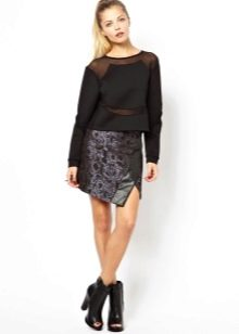 Асимметричная кожаная юбка с джемпером
