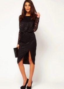 Асимметричная юбка и черный клатч
