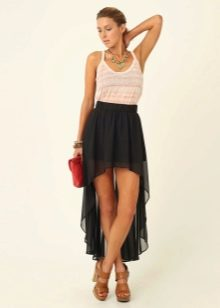Черная асимметричная юбка со шлейфом