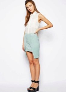 Голубая асимметричная юбка