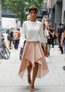 Асимметричная юбка солнце ниже колена