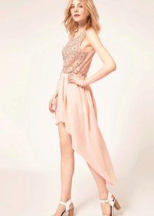 Асимметричная юбка солнце со шлейфом