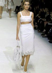 белая юбка-карандаш  с белым топом