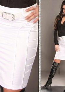 белая юба-карандаш с черной блузкой