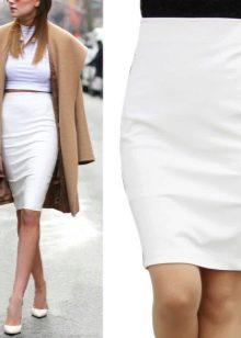 белая юбка-карандаш  осенью