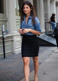 Черная хлопчатобумажная юбка карандаш