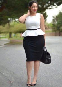 Черная юбка карандаш для полных