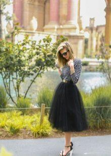 Многослойная юбка солнце средней длины