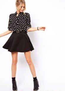 Короткая юбка солнце черного цвета