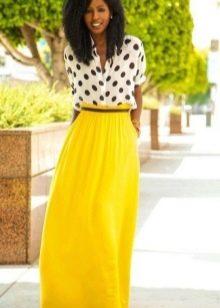 Длинная юбка полусолнце из хлопчатобумажной ткани