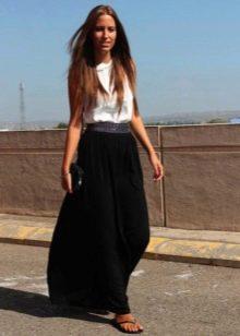 Длинная юбка полусолнце из тонкого трикотажа