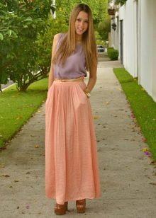 Длинная юбка полусолнце изо льна