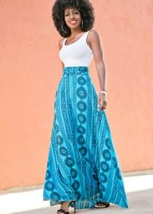 Длинная юбка полусолнце с этническим рисунком