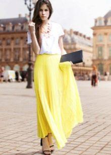 Длинная летняя юбка полусолнце желтого цвета